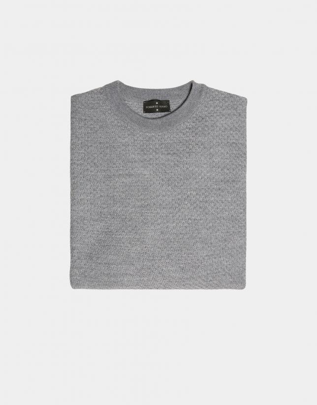 Gray melange structured wool sweater