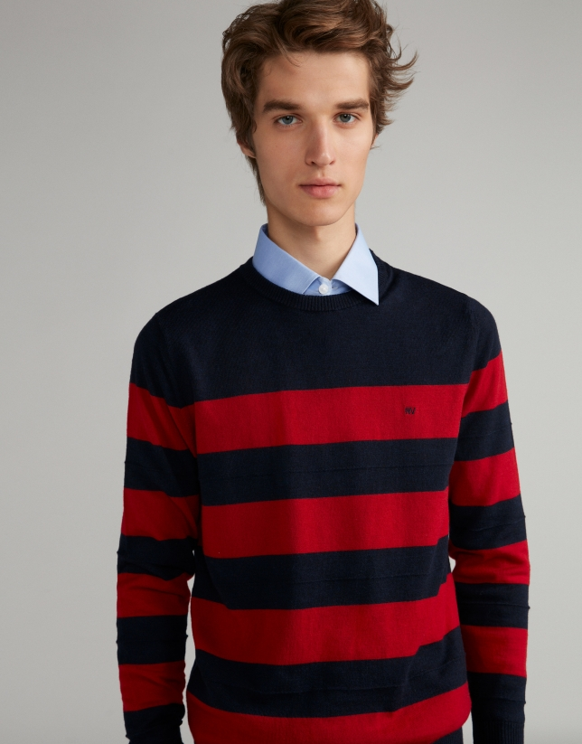 Navy blue/burgundy striped sweater