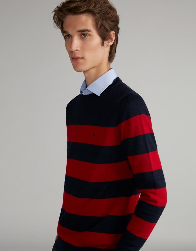 Navy blue/burgundy striped sweater