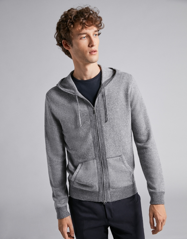 Gray jacket with hood