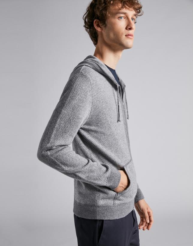 Chaqueta con capucha en tonos grises