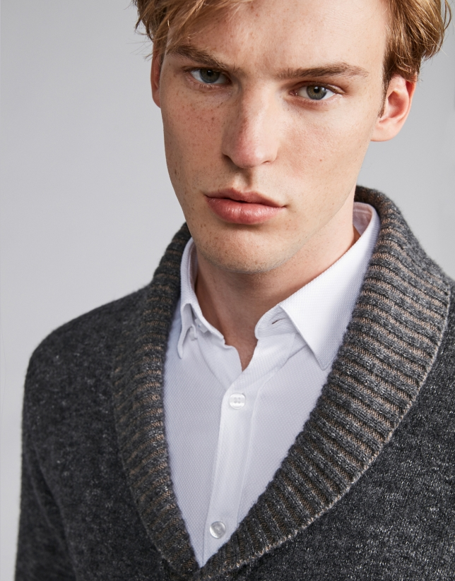 Gray jacket with shawl collar