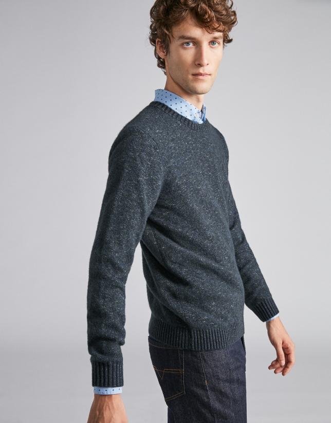 Jersey lana bicolor marino/verde