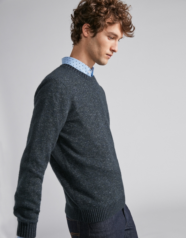 Pull en laine bicolore bleu marine/vert