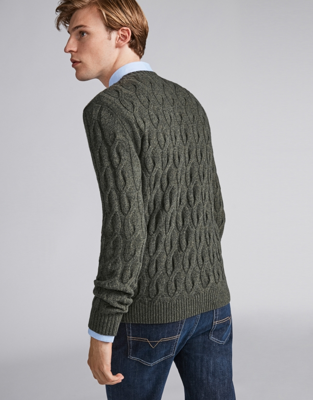 Khaki green melange sweater with cable-stitching