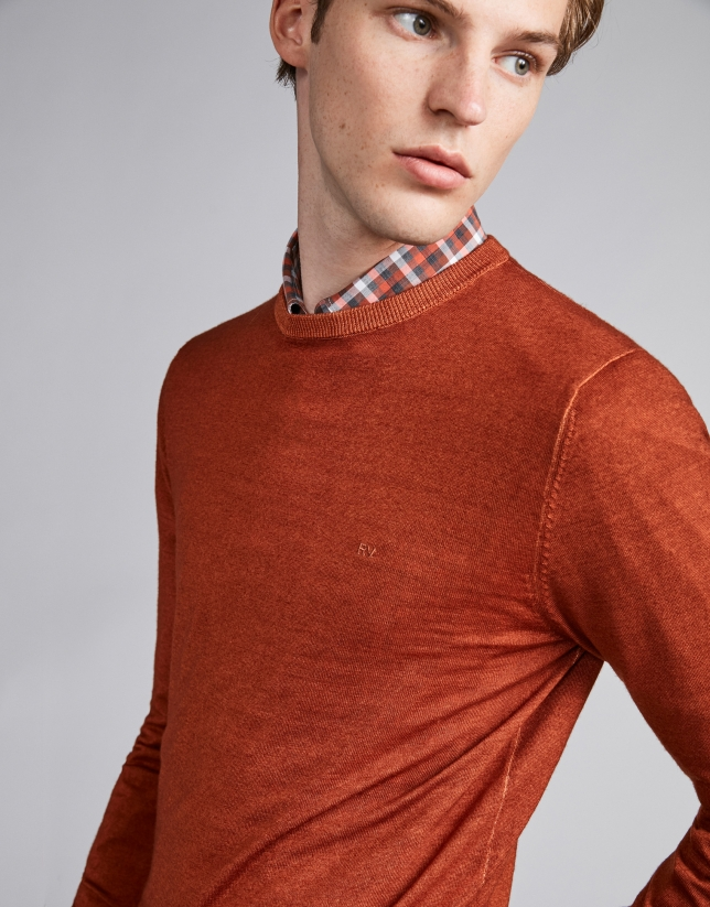 Burnt orange dyed wool sweater