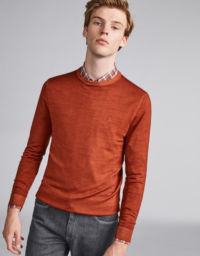 Jersey lana tintada naranja quemado