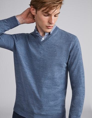 Pull col V en laine bleu indigo
