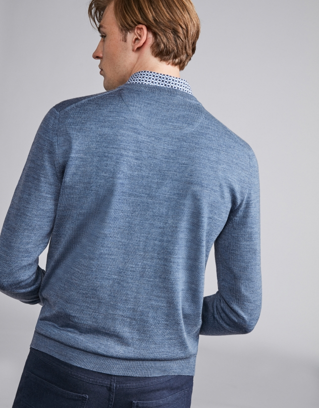 Indigo wool V-neck sweater