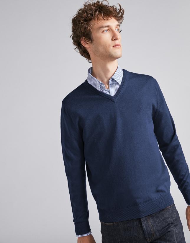 Navy blue wool V-neck sweater