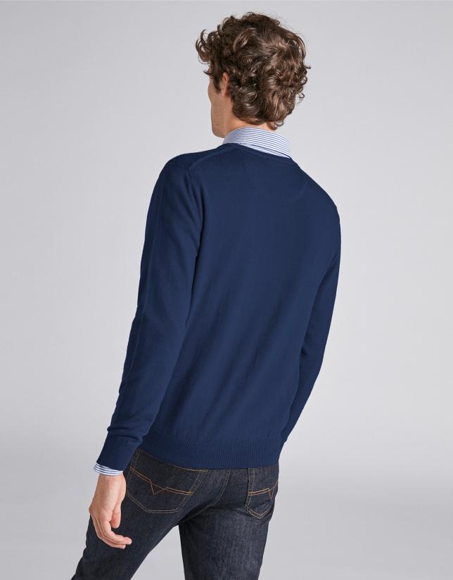 Pull col V en laine bleu marine