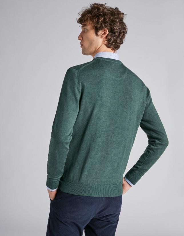 Jersey pico lana verde