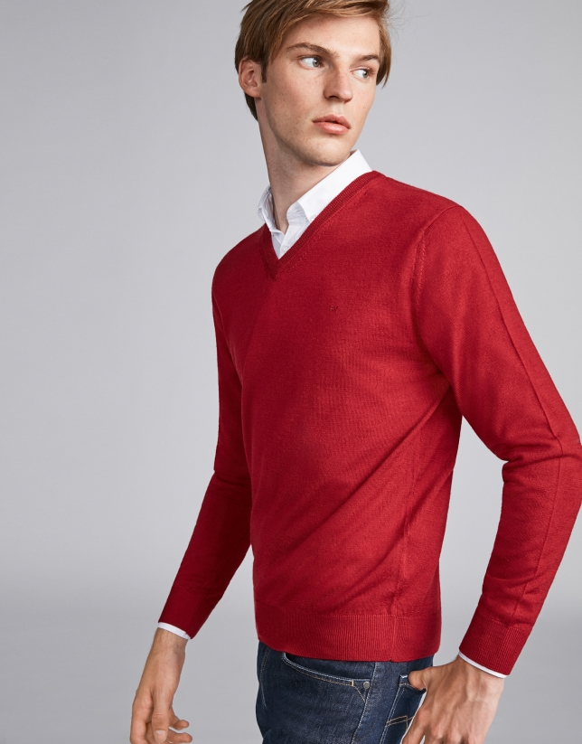 Red wool V-neck sweater