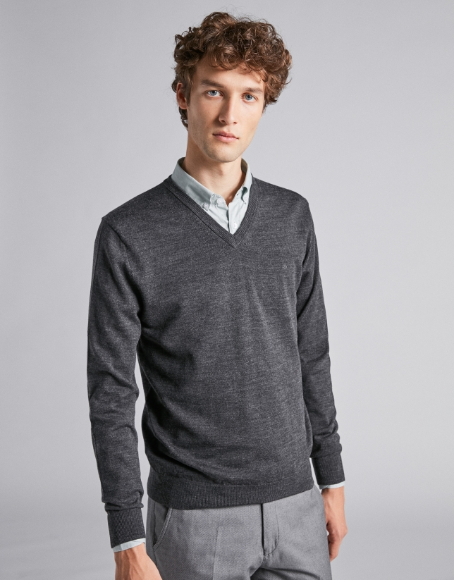 Dark gray wool V-neck sweater