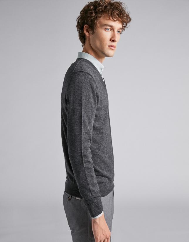 Jersey pico lana gris oscuro