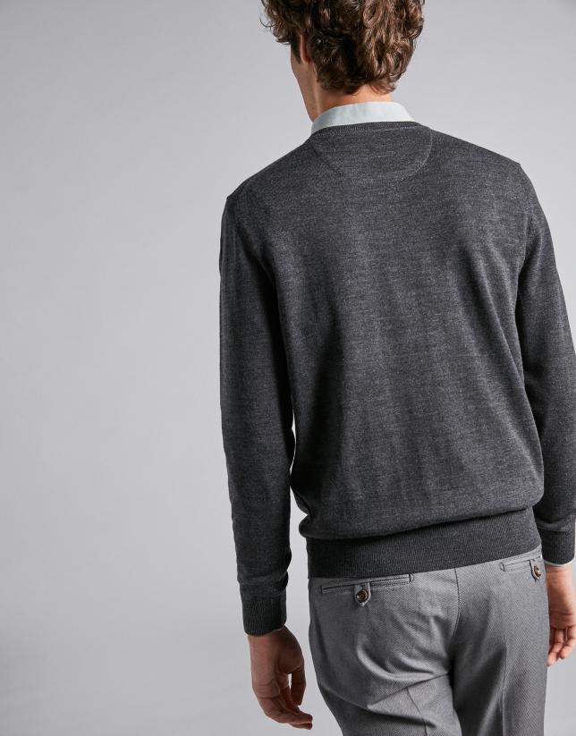 Dark gray wool V-neck sweater