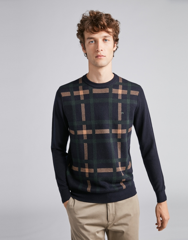 Navy blue/camel checked sweater