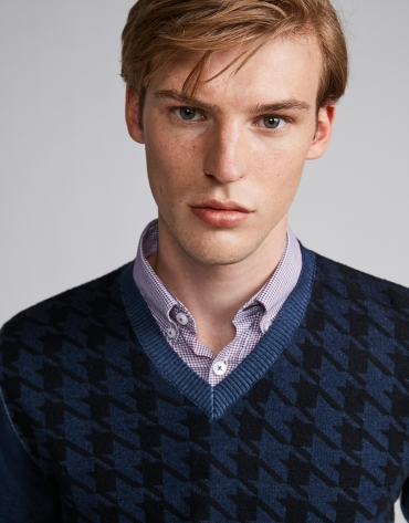 Blue herringbone sweater