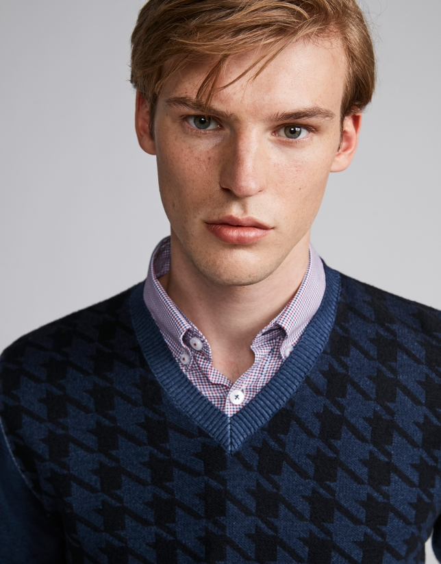 Blue herringbone sweater
