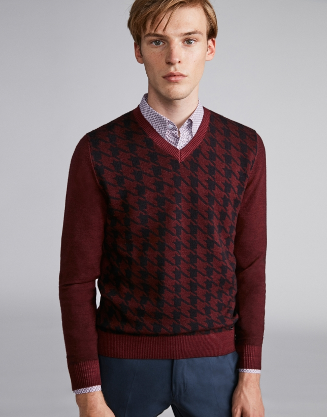 Burgundy herringbone sweater