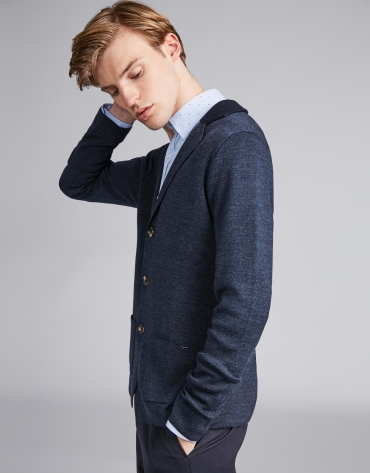 Navy blue wool jacket with knit collar