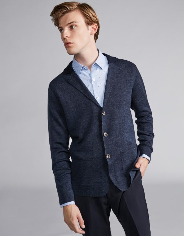 Chaqueta lana con cuello de punto azul marino