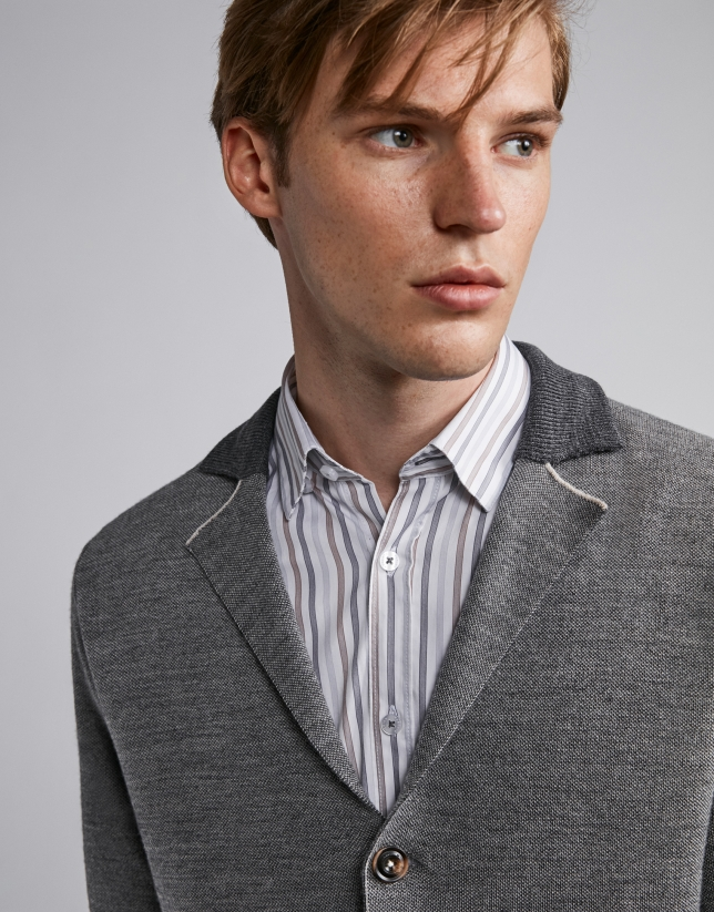 Gray wool jacket with knit collar