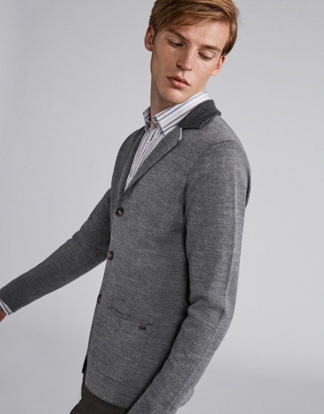 Chaqueta lana con cuello de punto gris