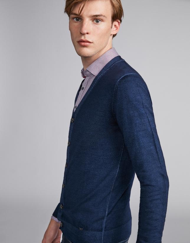 Blue dyed wool jacket
