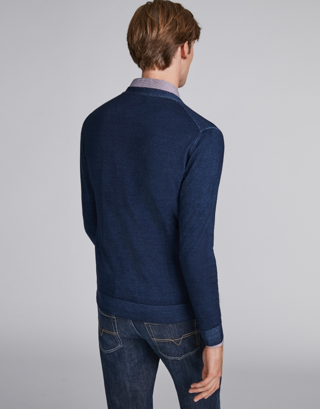 Chaqueta lana tintada azul
