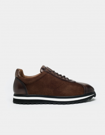 Brown suede/napa sport shoes