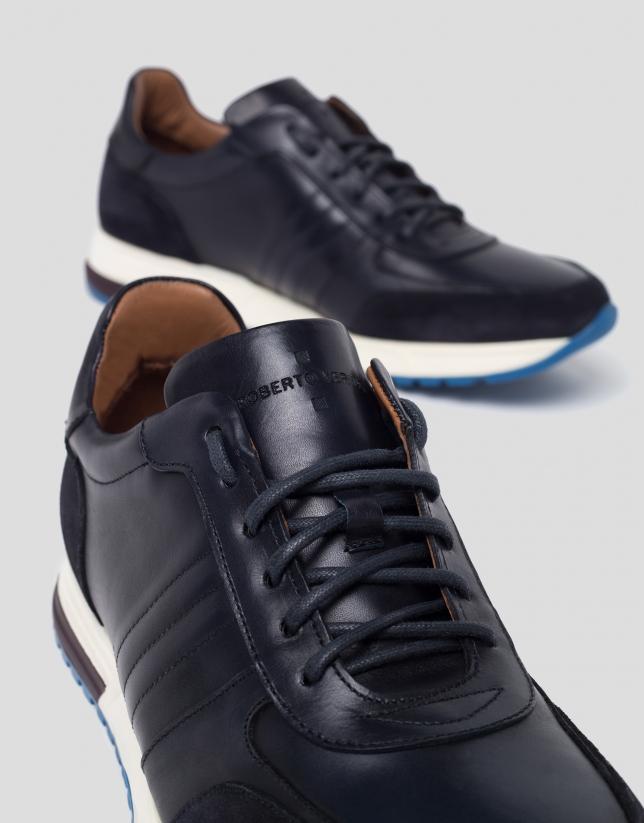 Blue suede/napa sport shoes