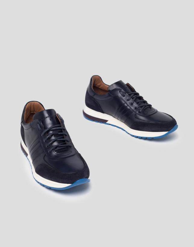 Tennis en daim/cuir nappa bleu