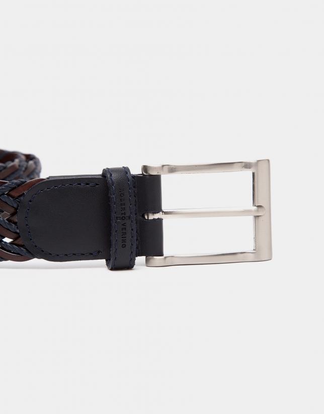 Cinturón trenzado bicolor marrón/marino