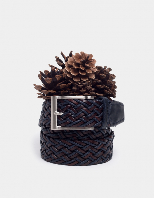 Brown/navy blue two color braided belt