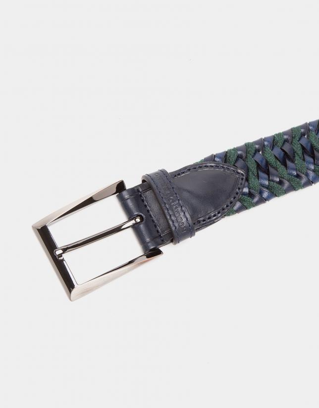 Cinturón trenzado bicolor marino/verde