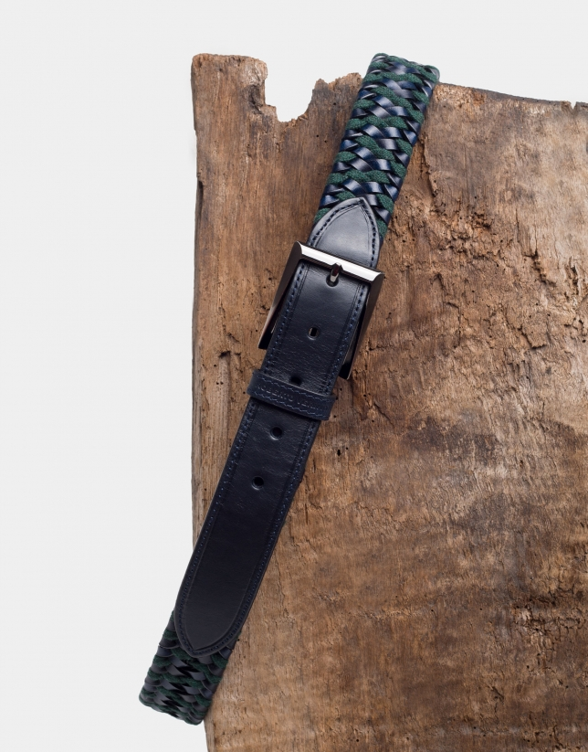 Navy blue/green, two color braided belt