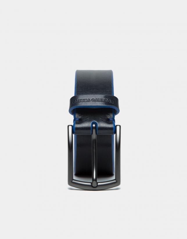 Black belt with blue burnishing