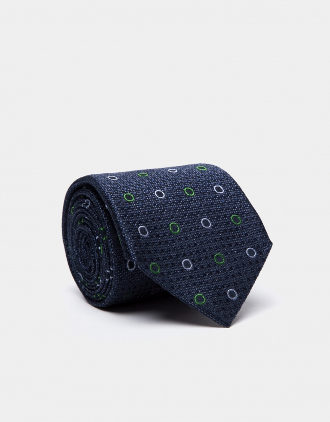 Blue wool tie with green/light blue circles