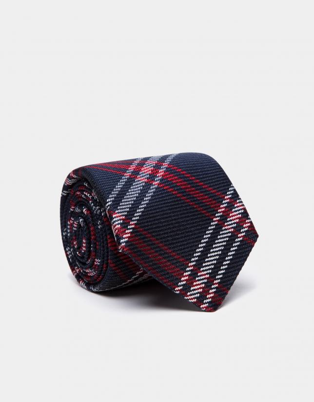 Cravate en laine bleue à carreaux en rouge/écru