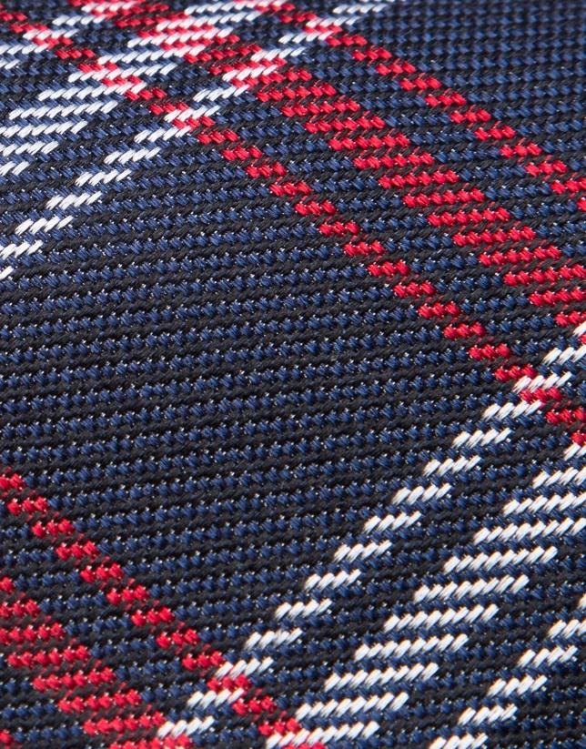 Corbata de lana azul cuadros rojo/crudo