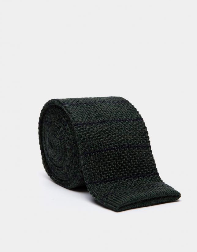Bottle green wool tie with navy blue stripes
