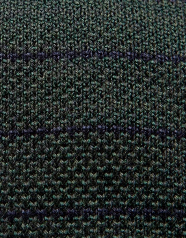 Cravate en laine vert bouteille et rayures en bleu marine
