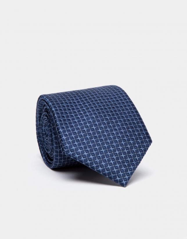 Cravate en soie avec structure de jacquard dans les tons bleus