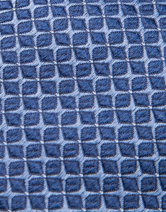 Silk tie with blue jacquard structure
