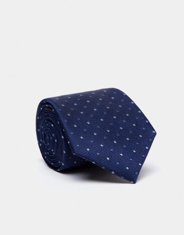 Corbata de seda azulón y jacquard geométrico en tonos azules