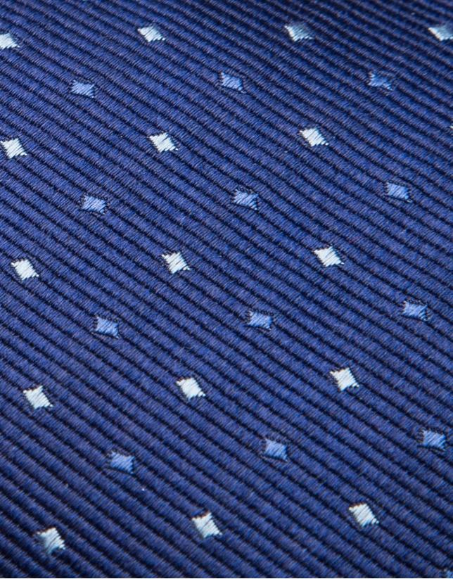 Cravate en soie bleu roi et jacquard géométrique dans les tons bleus