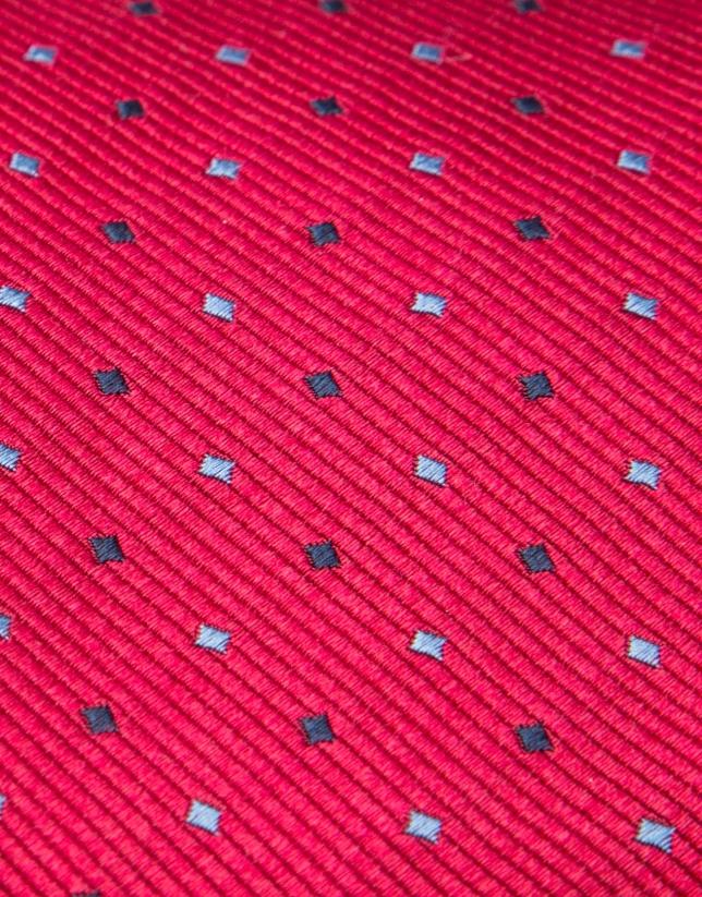 Red silk and jacquard tie with light blue/black geometric print