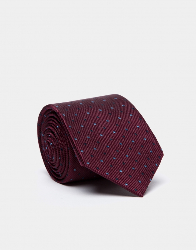 Burgundy silk tie with light blue/black jacquard