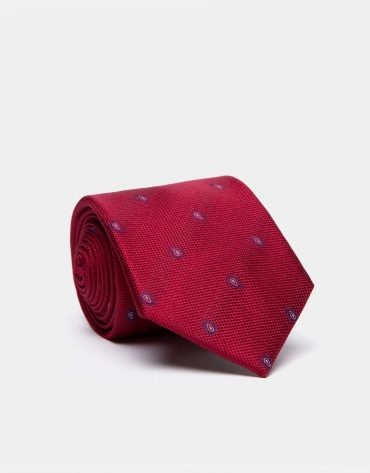 Red silk and jacquard tie with blue cashmere spots